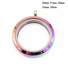 Round Water Proof Floating Locket Rainbow Stainless Steel Twist Screw Glass Memory pendant