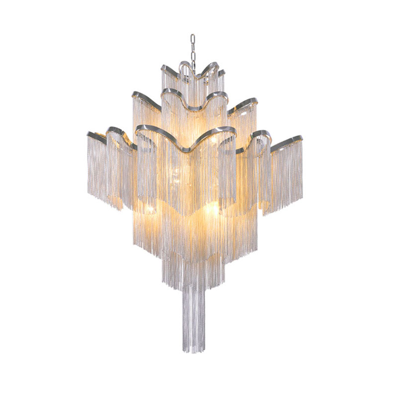 Fashional Silver LED Pendant Light Chain Stair Lamp Engineering Design Luxury Chain Aluminum Pendant Lamp For Living Room(DU-50) stair light