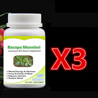 3 Bottle 300pcs Pure Bacopa Monnieri 20 1 Extract With Bacosides Focus Clarity Of Mind Improve