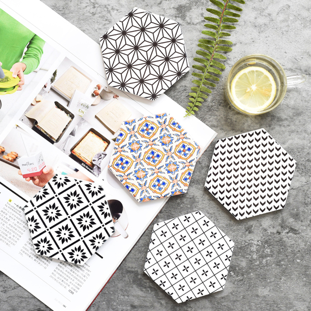 Creative Geometric Ceramic Coasters Drink Coaster Pad Coffee Cup Mat - Cork coaster bottoms