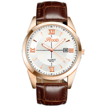 Rood reloj de la marca 5 de color placa de oro rosa sencillo de cuero correa de reloj de cuarzo resistente al agua relojes de pulsera de oro para los hombres r6122