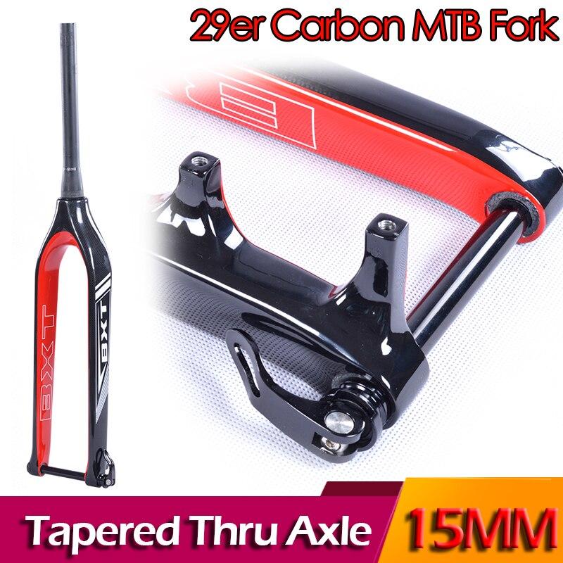 BXT Fork 29er mountain bike carbon mtb fork Bicicletas Rigid Tapered Thru Axle 15mm bicycle Fork super light carbon fork