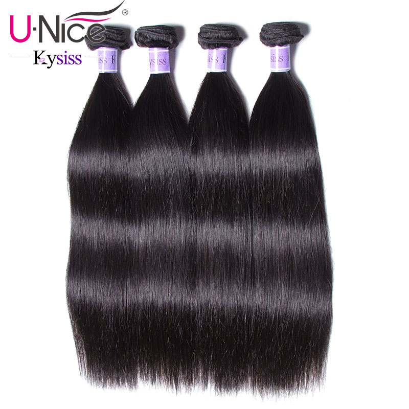 UNice Hair Kysiss Series Peruvian Straight Hair Bundles 100 Human Hair Weaves 4 Bundles Natural Color