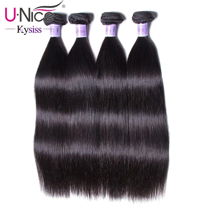 "UNice Hair Kysiss Series Peruvian Straight Hair Bundles 100% Human Hair Weaves 4 Bundles Natural Color 8 30""-in 3/4 Bundles from Hair Extensions & Wigs    1"