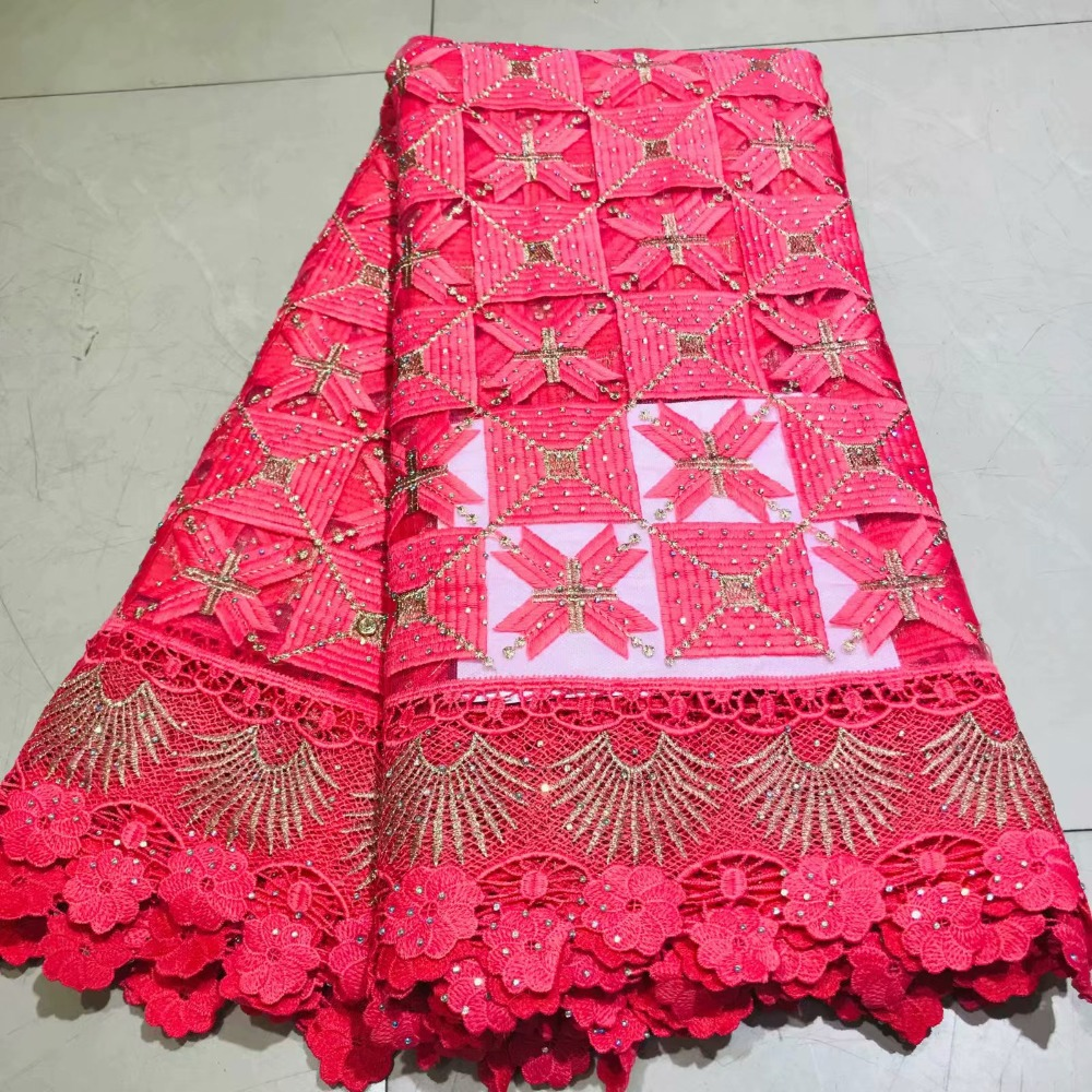 beautiful Cross embroidered with rhinestones beads african cord lace net fabric flowers african guipure lace fabric