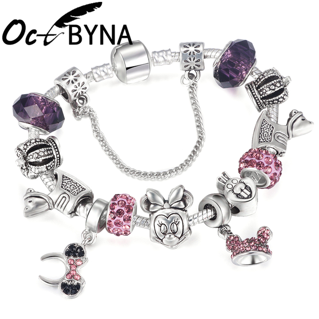 5d07dfc14 Octbyna New Cartoon Mickey & Minnie Mouse Pandora Charm Bracelet with  Purple Crystal Beads Trojan for Women Kids Festival Gift