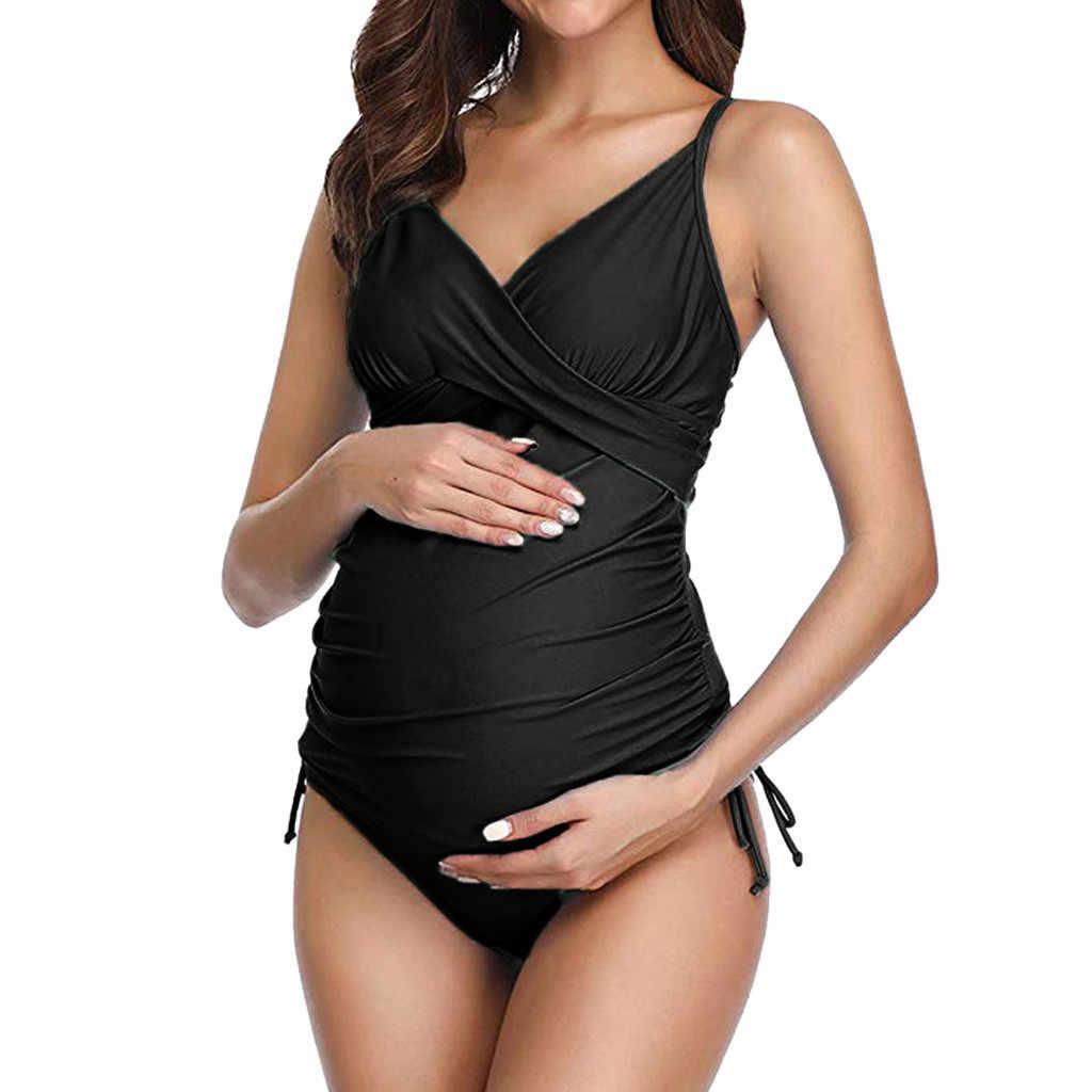 4ee234094351 Moda maternidad Sexy traje de baño Color sólido una pieza traje de ...