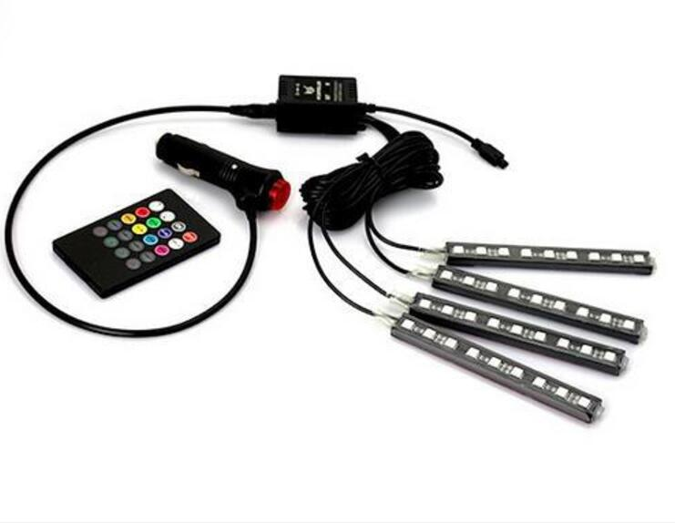 4pcs Car RGB LED Strip Lights 16 Colors Car Sound music Active Effect Decorative Atmosphere Car Interior Light With Remote