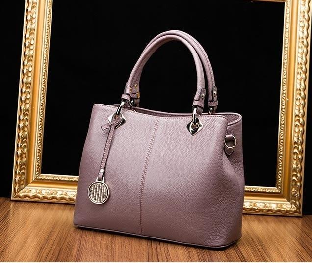 Fashion 100% Cowhide Top-Handle Bags Genuine Leather Ladies Handbags Shoulder Bags Female Sequined Thread Women Totes Sac