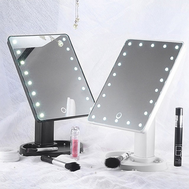 professional vanity mirror with lights. LED Touch Screen Makeup Mirror Professional Vanity With 22 Lights  Adjustable Countertop 360 Rotating