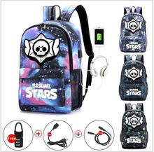 Brawl Stars Cool Luminous School Bags for Boys and Girls Backpack with USB Charging Games Mochilas For Teenager Girls Anti-theft