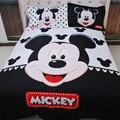 3D Cartoon Mickey Minnie Mouse Juego de Cama Queen Size 100% Funda Nórdica de algodón Establece la hoja de cama colcha Funda de Almohada Arco 4 unids conjuntos