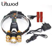 Litwod Z30 5 CREE LEDs Headlamp XM-L T6 Headlight 15000 lumens LED Headlamp Camp Hike Emergency Light Fishing hunting Outdoor