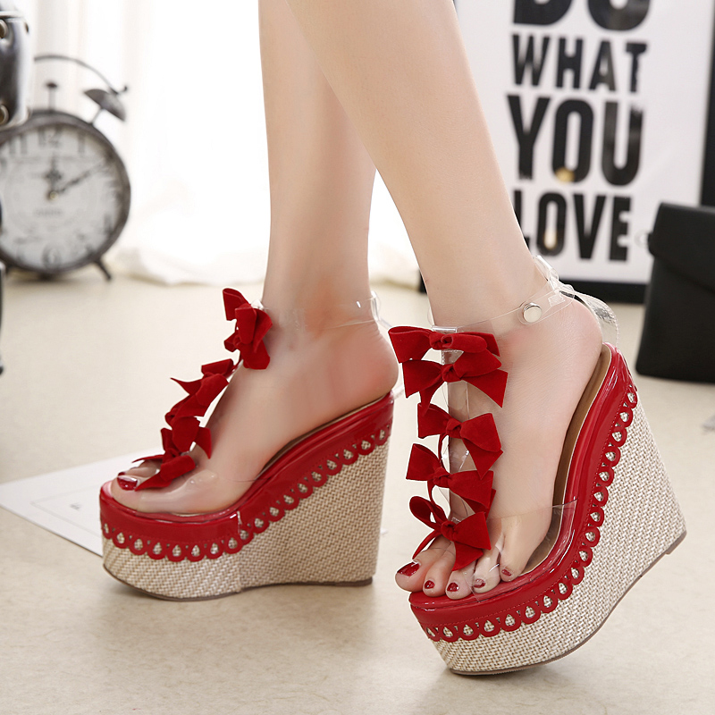 079d6ecc480 strappy high heel sandals wedges shoes for women summer shoes prom sandals  peep toe Pumps transparent shoes Wedges sandals D1103