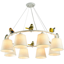 AIBIOU Elegant Cloth Chandelier For Living Room Contemporary Lustres E27 Chandeliers Lighting with Fabric Lampshades