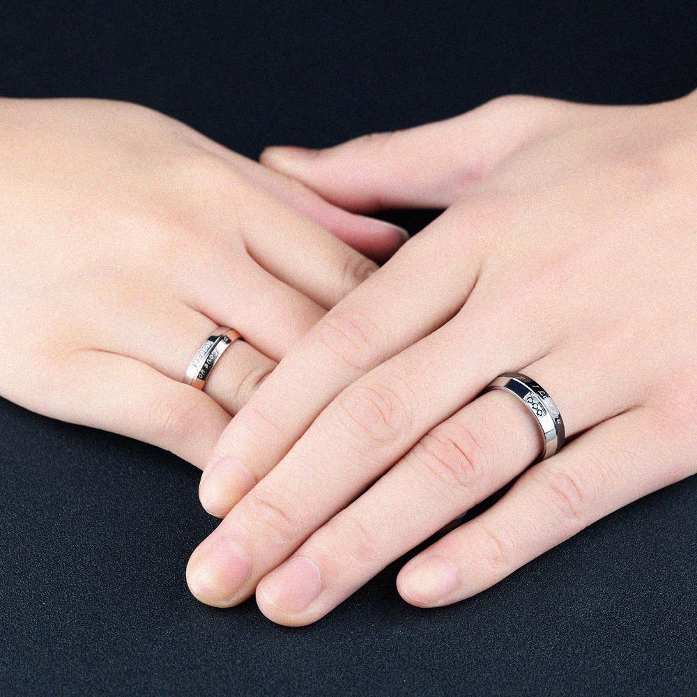 Free Custom Engraving I Love You Wedding Rings Couple\'s Two Tone ...