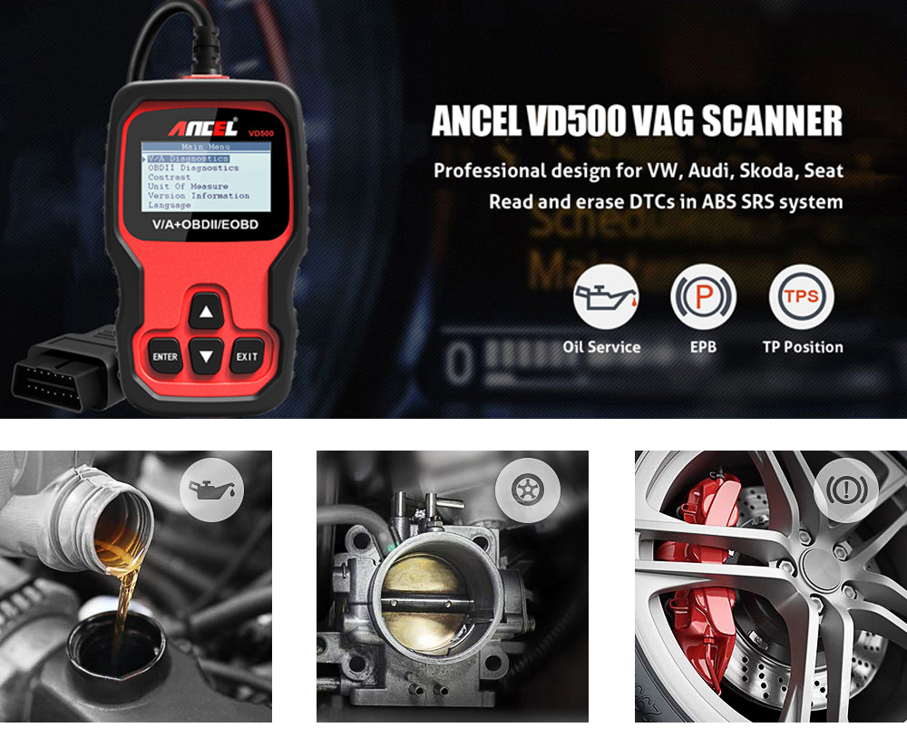 Ancel VD500 VAG OBD2 Scanner Car Diagnostic Tool for VW Audi Skoda Seat Oil  Service Reset EPB Brake TP Check Clear DTC ABS SRS