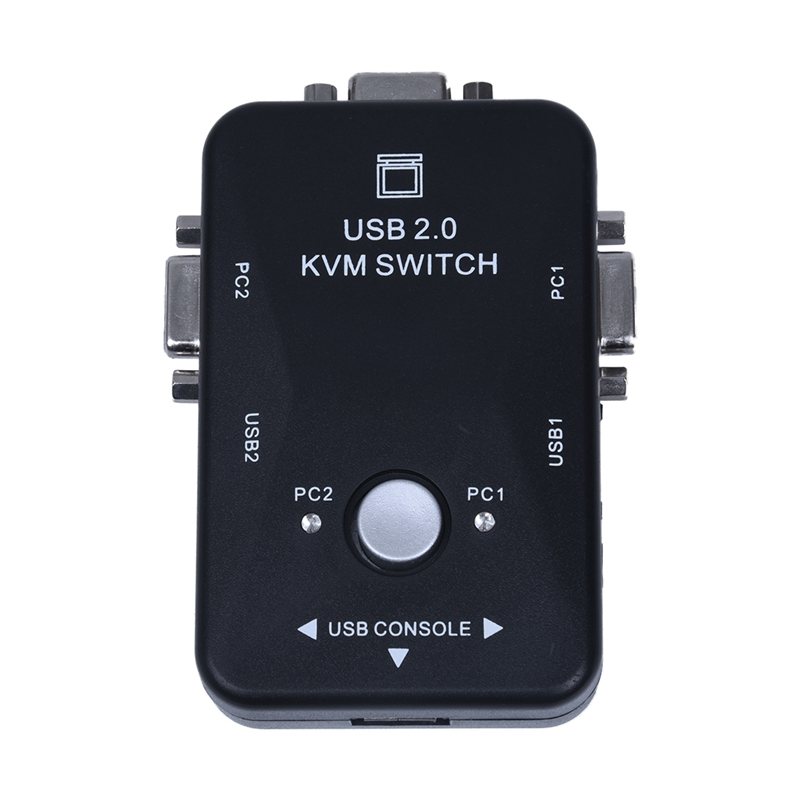 Mini 2 puertos KVM adaptador de caja de interruptor Manual con conector USB