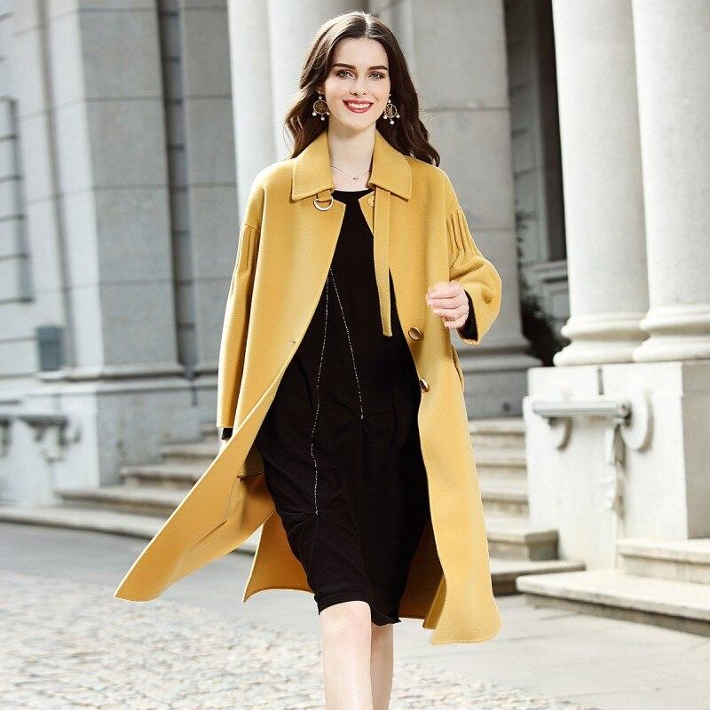 Manteau Laine Mi Longueur Pardessus Femmes Amérique Lady face Double red Mode Femme Survêtement Nouveauté Baggy Yellow black De Europe 2019 Hiver gYf76yvIb