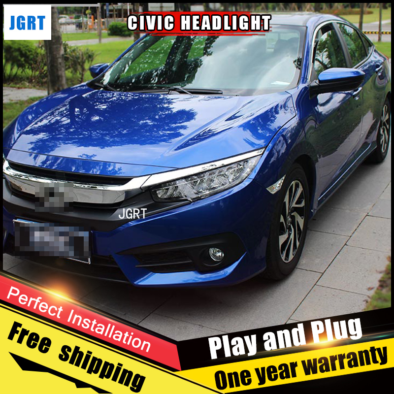 2PCS Car Style LED headlights for Honda Civic 2015 for Civic head lamp LED Lens Double Beam H7 HID Xenon bi xenon lens hireno headlamp for 2006 2011 honda civic headlight headlight assembly led drl angel lens double beam hid xenon 2pcs