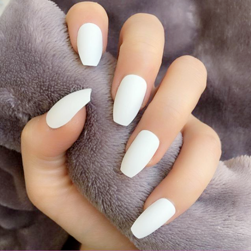 Us 0 87 30 Off 24pcs Long Coffin Glossy False Nails Solid White Acrylic Fake Nails Natural Clear Glitter Ballerina Nail Tips For Nail Extention In