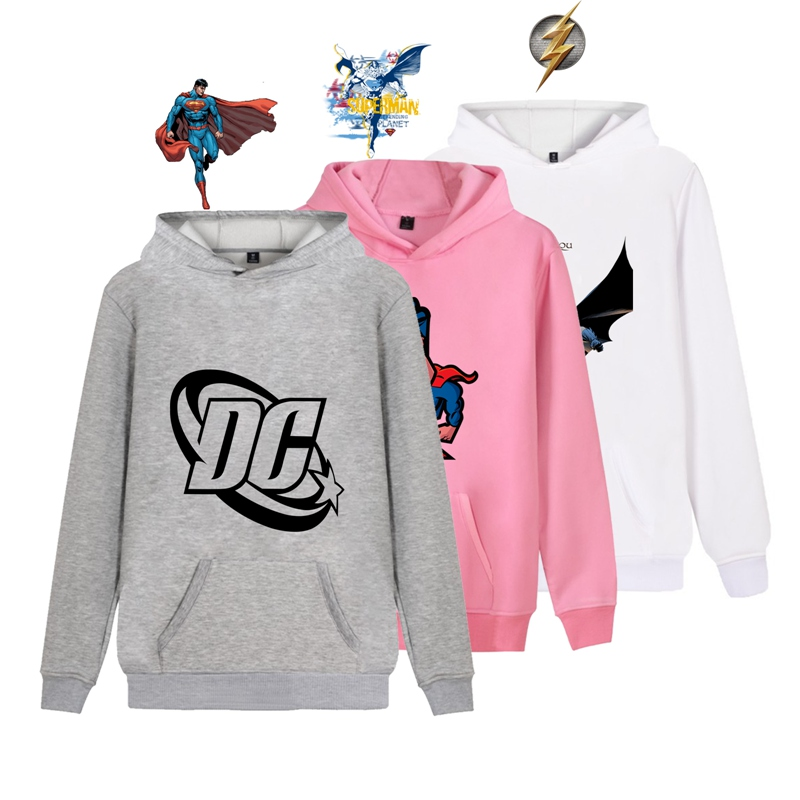 Funny cartoon Batman Superman The Flash Printed Illustration Trendy Harajuku Hoodie with Pocket Winter Junior Pullover