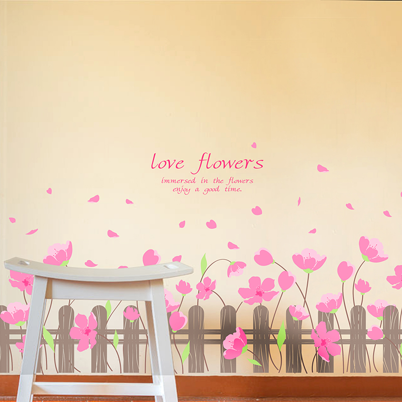 shijuekongjian Pink Color Flowers Baseboard Stickers DIY Wall Sticker for Kids Room Baby Bedroom Decoration Children Gift in Wall Stickers from Home Garden