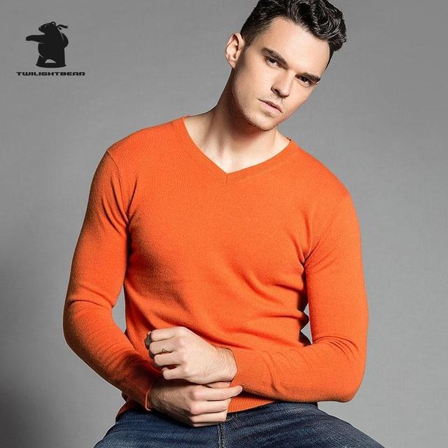 Otoño E Invierno de los hombres Jerseys 2016 Marca Pur Color de La Manera Delgada 100% Lana Merino Con Cuello En V Suéter Ocasional de Los Hombres 16 Color C3E01