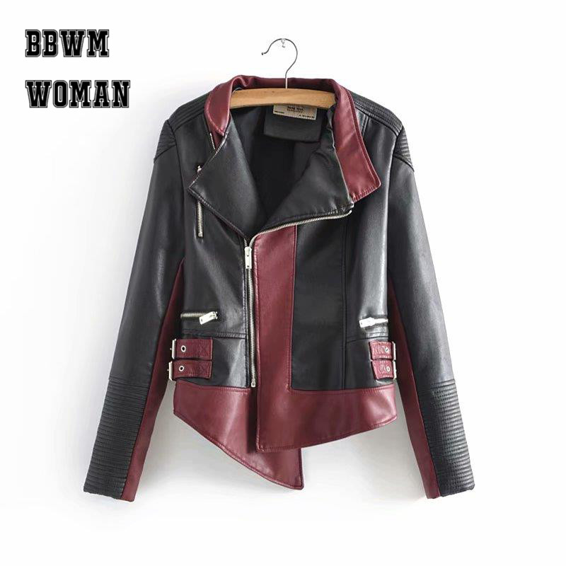 Personality Contrast Color Burgundy and Hot Pink Pu Leather Women Jacket S-XL Size Long Sleeve Lapel Zipper Tops P5