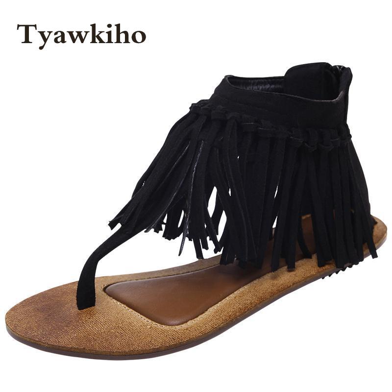 Tyawkiho Women Flip Flops Sandals Black Suede Leather Sandals Fringe Summer Shoes 2018 Flat Heels Sandals Fashion Beach Sandals