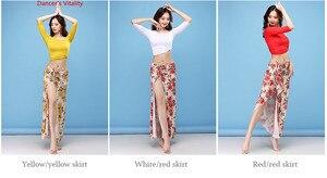 Image 5 - Yeni dans giyim kadın sınıf aşınma ipek buz kumaş sıkı off omuz kollu klasik göbek dans eteği kostüm seti