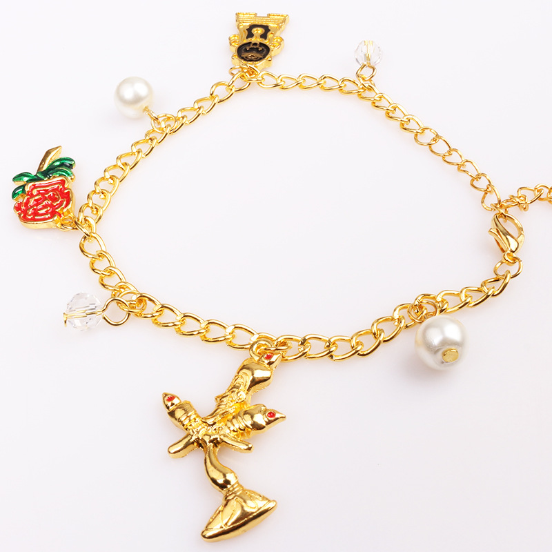 Beauty Belle The Beast Lover Princess Cosplay Combination Bracelet Rose Pendant Princess Cosplay Accessory Halloween Cosplay