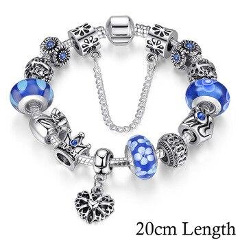 Women's Crown Silver Charm Bracelet Bracelets Jewelry Women Jewelry Metal Color: Blue 20cm PA1867