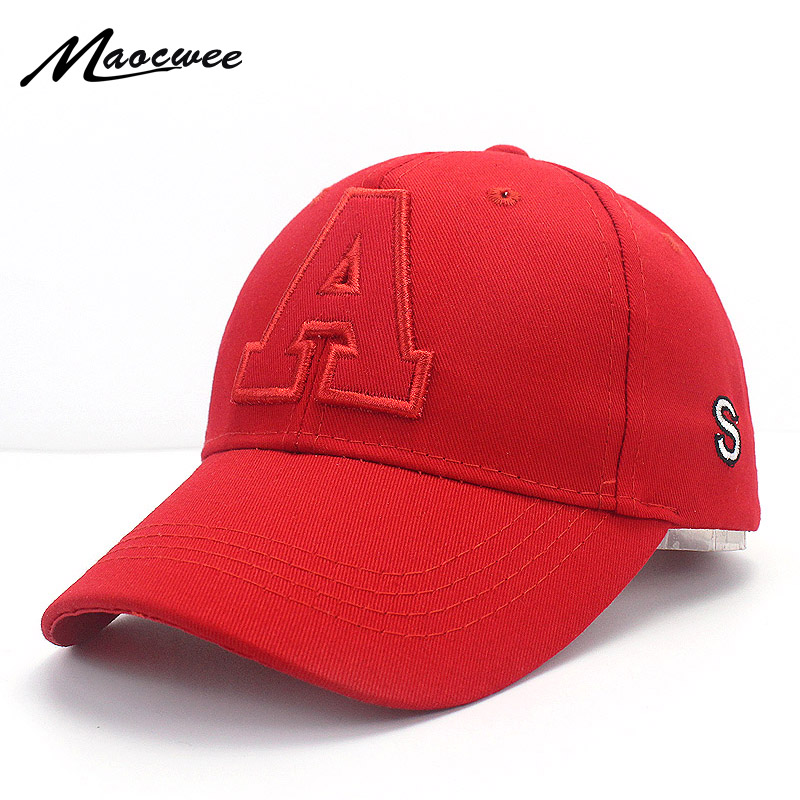 Boy Girl Letter Embroidery A Baseball Hat Summer Autumn Solid Color Red Black White Kids Snapback Hat Adjustable Casual Cap Bone