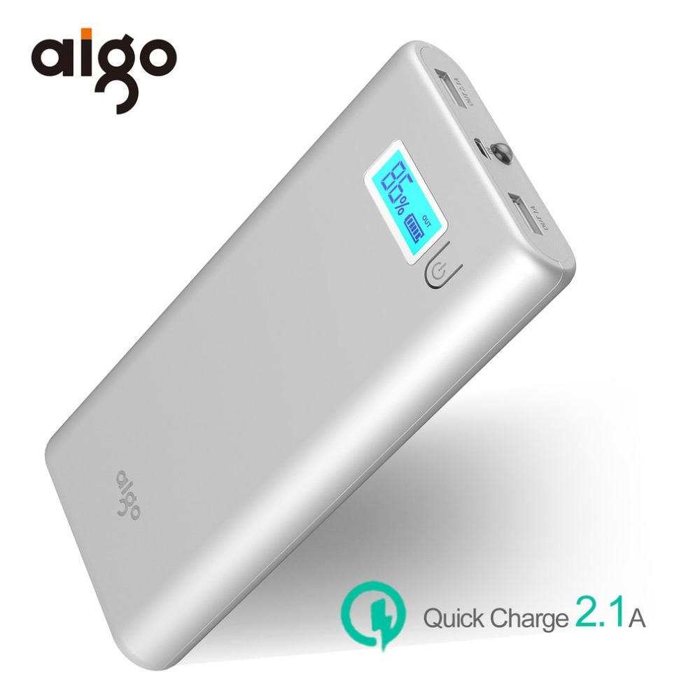 Aigo Power Bank 20000mAh Dual USB External Battery LCD Display LED Light Powerbank Large Capacity for Xiaomi for Iphone 6 7s 8 X