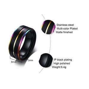 Модные украшения, 8 мм, на заказ, гравированные двухцветные кольца из нержавеющей стали с радужной инкрустацией, с начесом, для ЛГБТ-пар, для женщин, для свадьбы