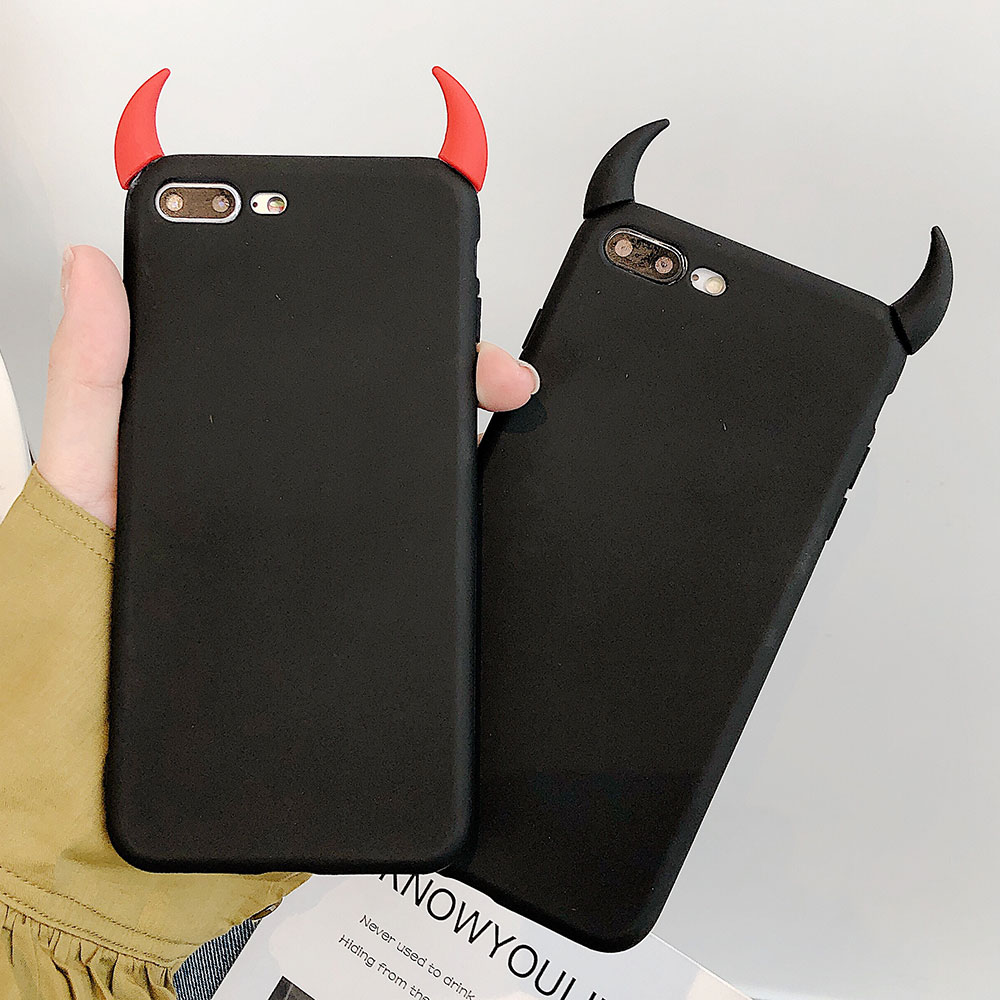 Devil Horn TPU Phone Case For Iphone 8 Plus 7 Plus XS X XR Xs Max Cases Soft TPU Fahshion Cover For Iphone 6S Plus 6 Plus Cases