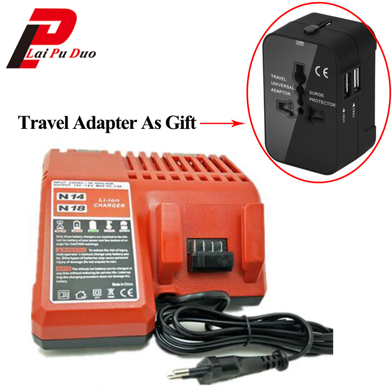 Replacement Cordless Drill Battery Charger For Milwaukee 48-11-1828 li-ion battery charger M18 18V charger with Travel Adapter банданы maximo бандана