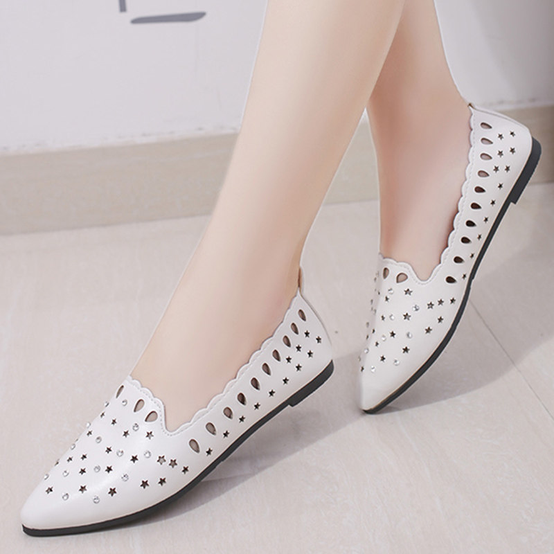 Spring Summer Shoes Woman Flats Cut outs Sandals Women Shoes White  LoafersSlip on Flat Shoes Ballerina ecc206cfe364