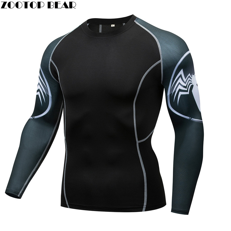 Spiderman Men Compression shirts Cosplay T shirt Quick Dry Fitness tee Compression Shirt Tight Bodybuilding Spring Autumn Tshirt