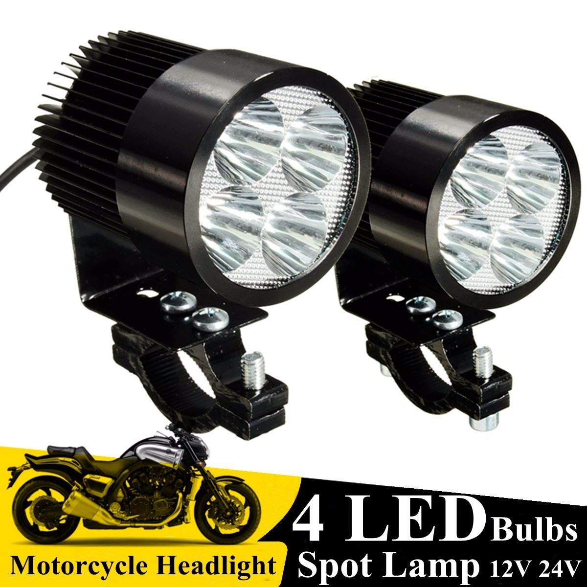 Big W Bike Light 2pcs 12w Motorcycle 4 Led Light Spot Driving Fog Spot