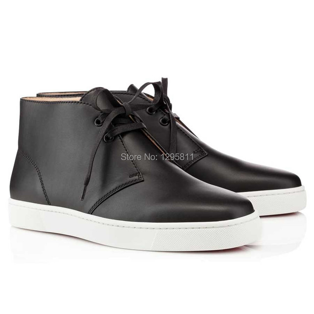 bfc71d24f580 Red Bottom Men Shoes HIGH TOP BLACK CALF FLAT SNEAKERS-in Fitness ...