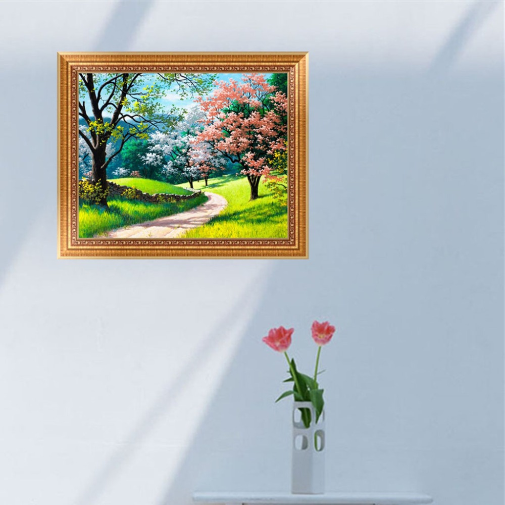 Diy 5d Trees Road Diamond Embroidery Painting Cross Stitch