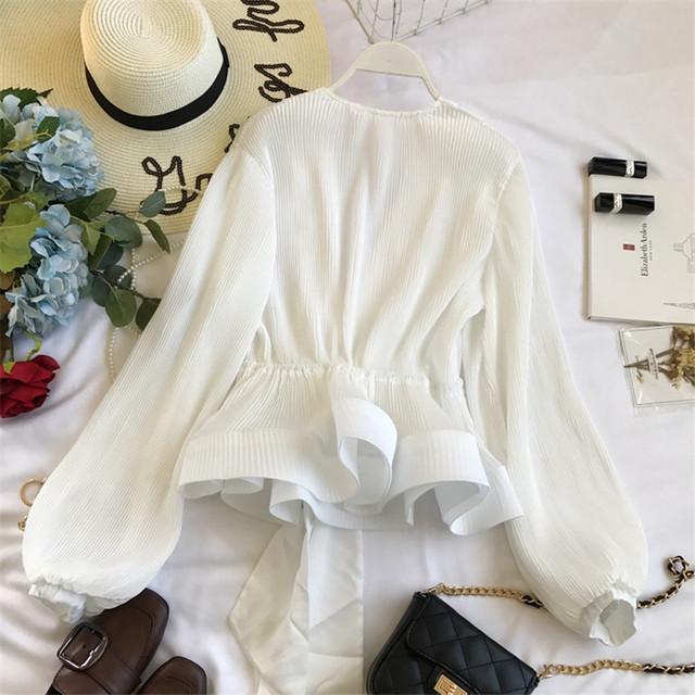Neploe Ruched Pleated Ruffles Blusa Sashes Vintage Grace Women Blouse 2019 Spring Autumn New Fashion Elegant V-Neck Shirt 69273