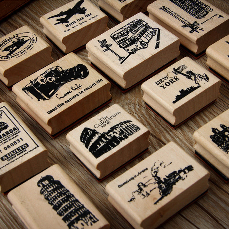 Vintage Bus Kiosk European Creative stamp DIY wooden rubber stamps for scrapbooking stationery scrapbooking standard stamp slipper