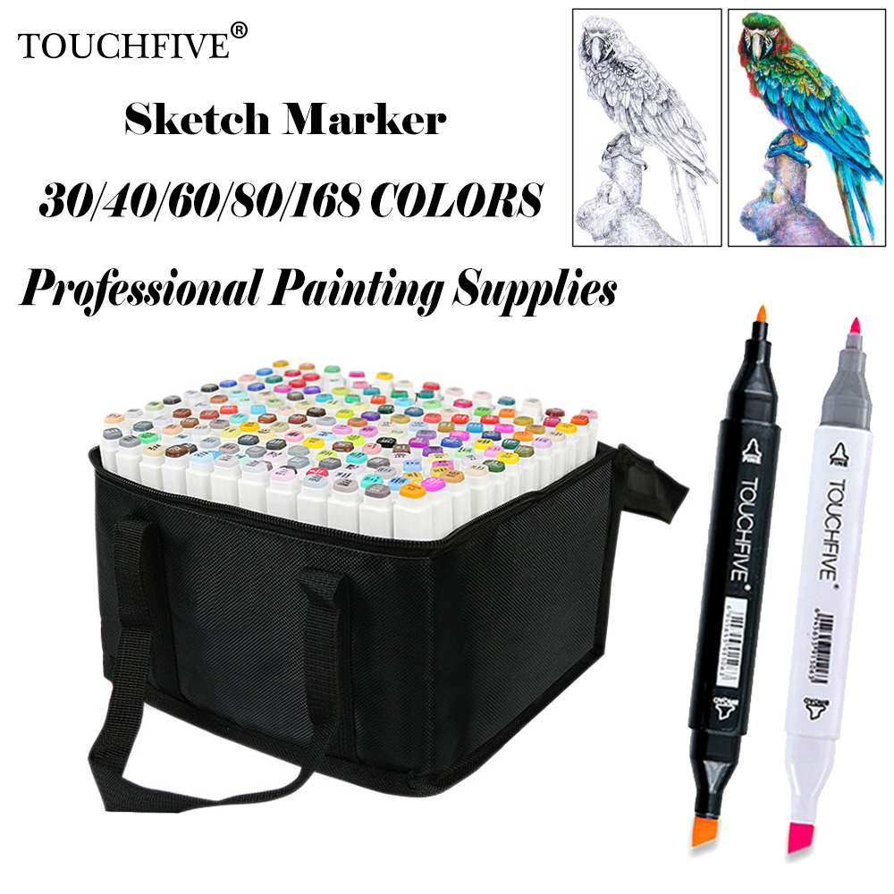 Touchfive 168 Colors Painting Art Mark Pen Alcohol Marker Pen Cartoon Graffiti Art Sketch Markers for Designers Art Supplies image