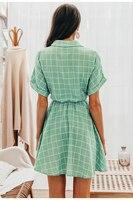 Vestido corto verde cuadros manga corta verano 2