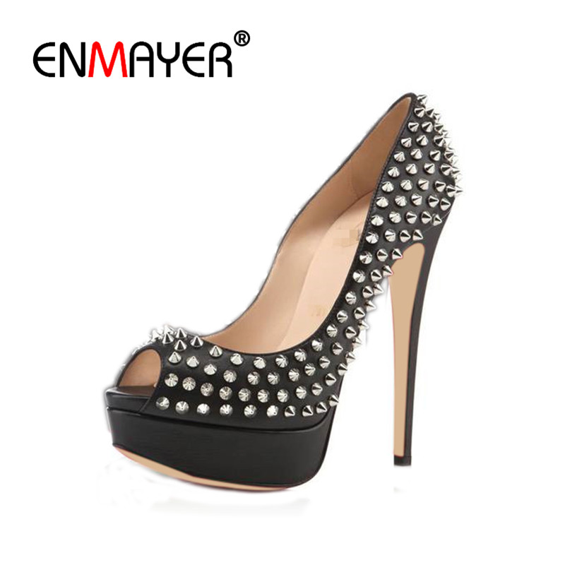 ENMAYER Summer Pumps Shoes Woman Sexy High Heels Peep Toe Platform Shoes Red Party Wedding Shoes Plus Size 35-46 Rivets Charms enmayer pointed toe sexy black lace party wedding shoes woman high heels shallow pumps plus size 35 46 thin heels slip on pumps