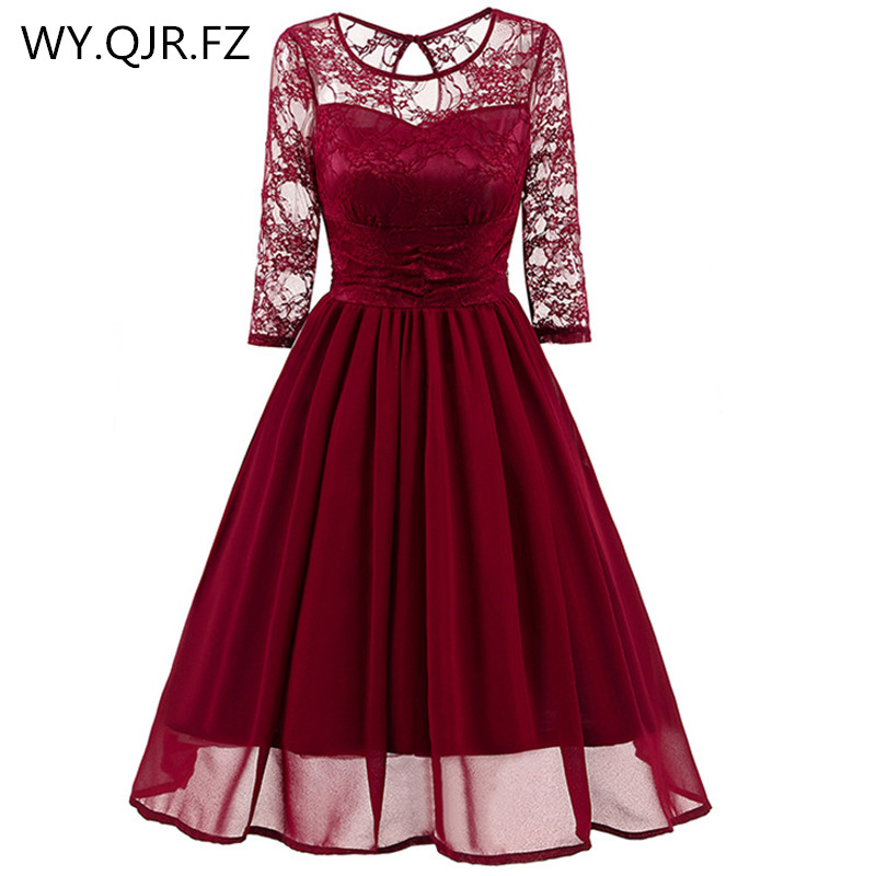 CD1581#Burgundy Lace Chiffon Short Bridesmaid Dresses Wedding Party Dress Gown Prom Sister Bride Toast Wholesale Cheap Clothing