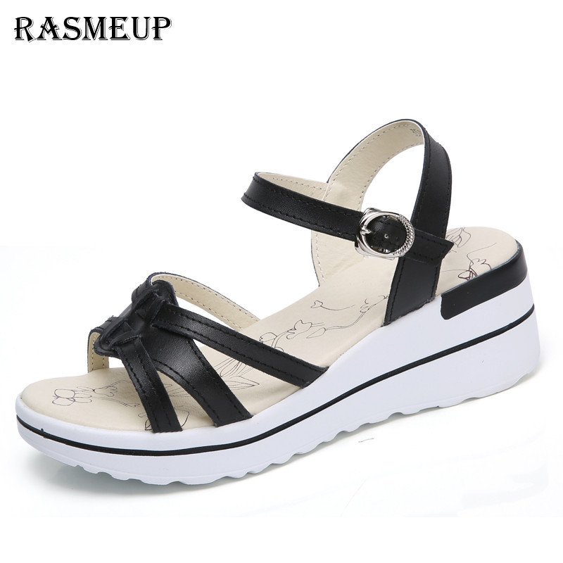 74c5b4a1e RASMEUP Genuine Leather Women s Sandals 2018 Fashion Open Toe Platform Low Wedges  Women Sandals Woman Casual Summer White Shoes-in Low Heels from Shoes on ...